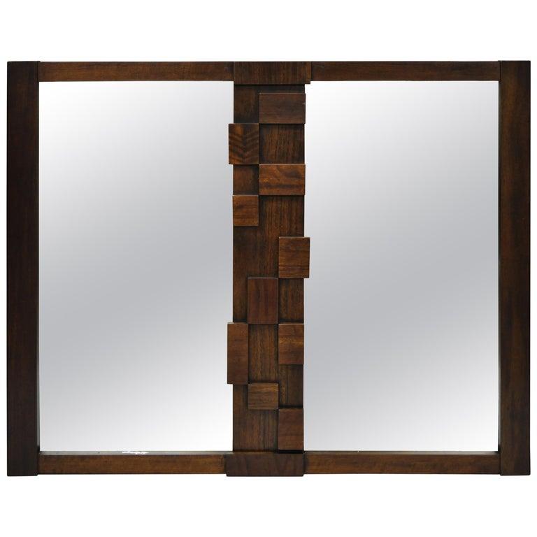 1970s Mid Century Modern Brutalist Dresser Or Wall Mirror