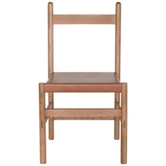 Juniper Chair, Sienna, Minimalist Chair in Wood and Leather