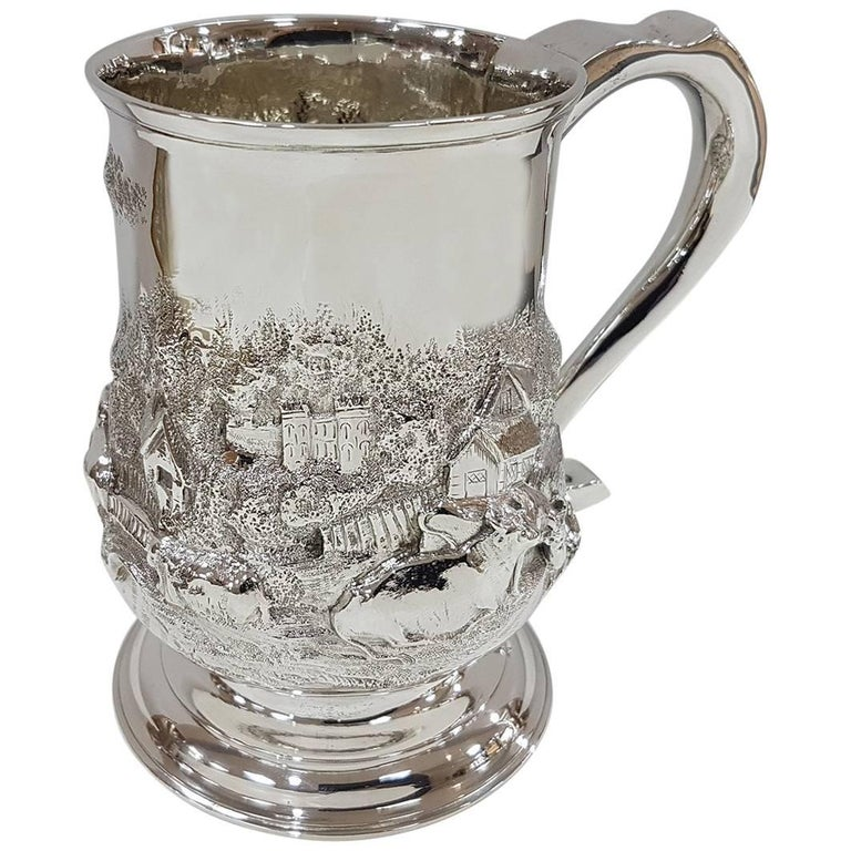 19th Century Sterling Silver Footed Tankard with Countryside Scene, circa 1748