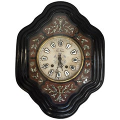 French 19th Century Ebonized Wall Clock with Mother-of-Pearl Inlay