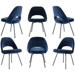 Saarinen Executive Armless Chairs in Navy Velvet, Obsidian Matte, Set of Six
