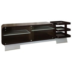 Italian Dark Curved Wood Sideboard with Glass Sliding Doors and Aluminium Base