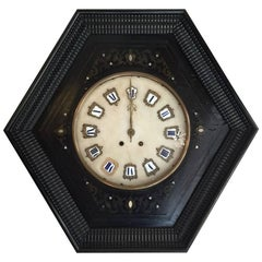 French 19th Century Ebonized Wall Clock with Guilloche Frame and Marble Quarter