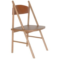 Cress Chair, Sienna Minimalist Side or Dining Chair in Wood, Leather