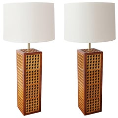 Pair of Large Midcentury Perforated Table Lamps