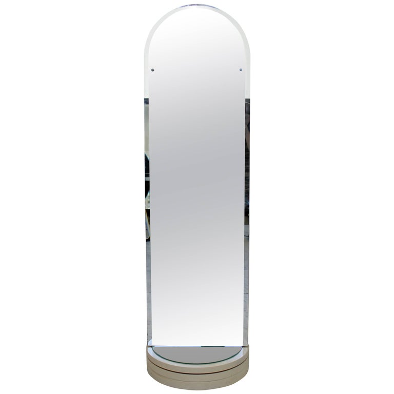 Contemporary Modern White Rounded Rotating Standing Mirror Coat Hook