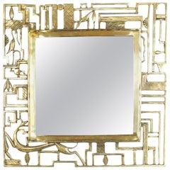 Karl Hagenauer Style Brass Wall Mirror, Austria, 1930