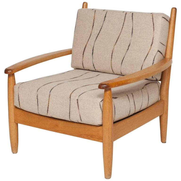 Midcentury Oak Spindle Chair Newly Upholstered in in Grey Wool Fabric For Sale