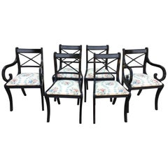 English Set of Six Regency Ebonized Chairs with Floral Fabric Seat from 1860s