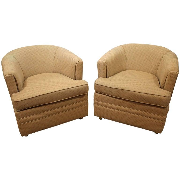 Pair of Midcentury Danish Modern Swivel Club Chairs