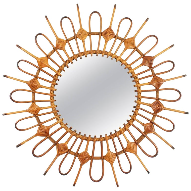 Spanish 1950s Wicker and Rattan Sunburst Mirror Framed by Rhombus Decorations