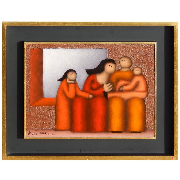 Mexican Modernist Painting by Jesus Leuus, 1982, The Family For Sale