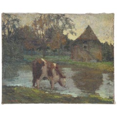 French Oil on Canvas Painting, Cow in Pasture