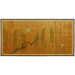 Japanese Four-Panel Byobu Screen of Cranes and Willow on Gold Leaf