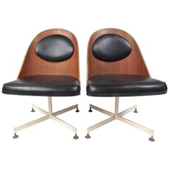 Midcentury Shell Back Swivel Desk Chair