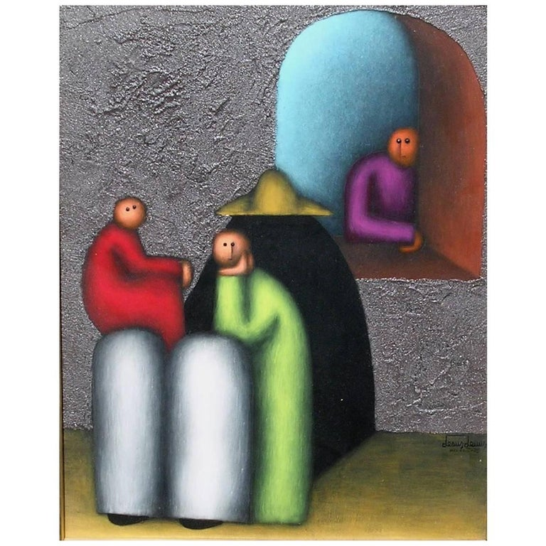 Mexican Modernist Painting by Jesus Leuus, 1973, La Familia