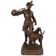 "Important Bronze ""The Bell Ringer and His Two Dogs"" by Moreau and Lecourtier"