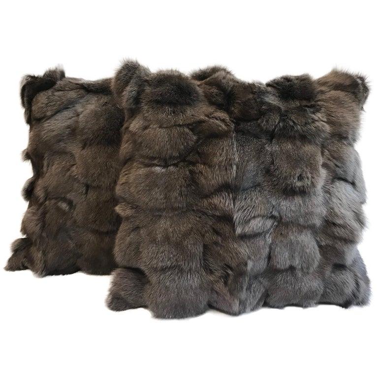 Pair of Brown Fox Fur Pillow