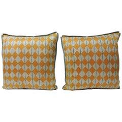"Indian 19th Century ""Phulkari"" Artisanal Textile Decorative Pillows"