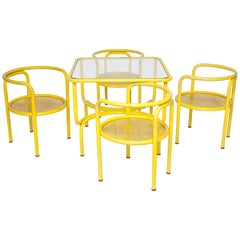 Yellow Metal Tubular Dining Table Set with Four Matching Chairs by Gae Aulenti
