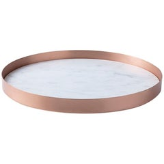 Full Moon Small Copper and Carrara Marble Tray by Elisa Ossino
