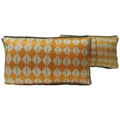 """Pair of Indian 19th Century """"Hulkari"""" Artisanal Decorative Lumbar Pillows"""