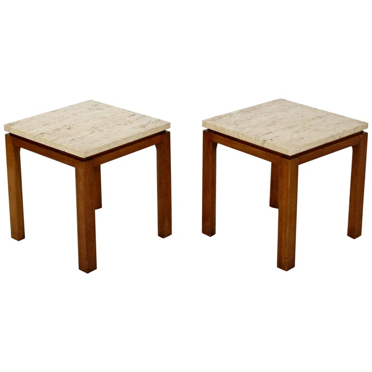 Mid-Century Modern Harvey Probber Pair of Square Travertine Side End Tables For Sale