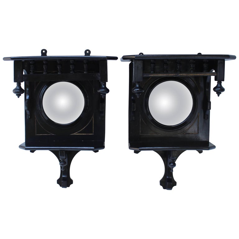 Pair of Black Lacquer Wall Brackets with Convex Mirrors