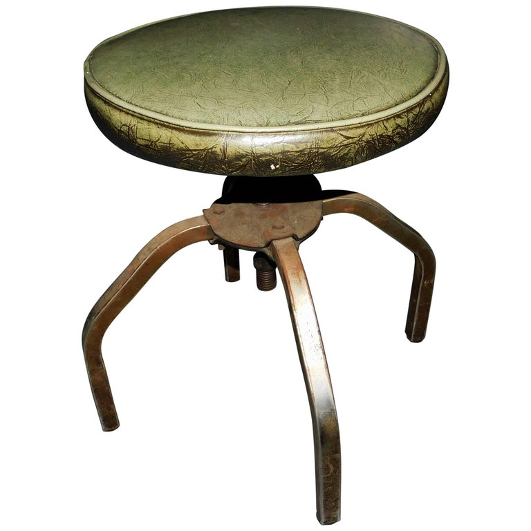 Industrial Swivel Green Leather and Metal Stool
