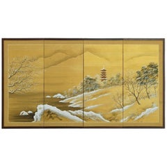 Japanese Four-Panel Painted Silk Landscape Byobu Screen