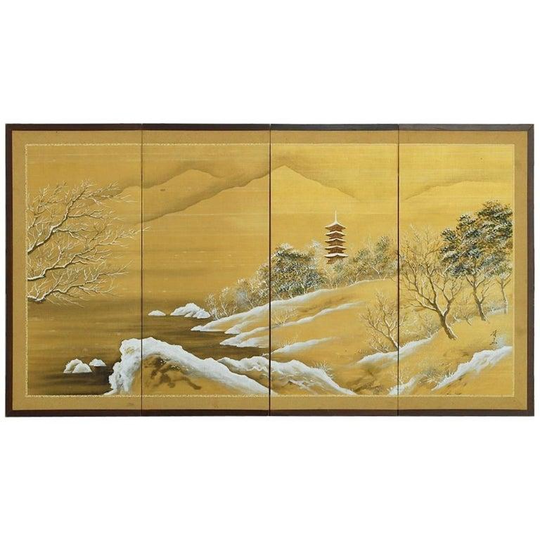 Japanese Four-Panel Painted Silk Landscape Byobu Screen