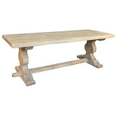 French Washed Oak Farm Table, Trestle Table