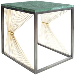 Contemporary Table with Marble, Brass and Steel, Handmade in Italy, Medium