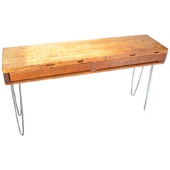 Sofa Table, Hall Table from Jeweler's Workbench with Maple Top on Hairpin Legs