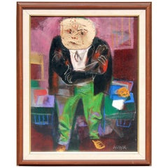 Painting by Important New York Artist & Caricaturist William Gropper, Mug-Wump