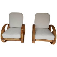 Pair of Rattan Pretzel Chairs in the Style of Paul Frankl