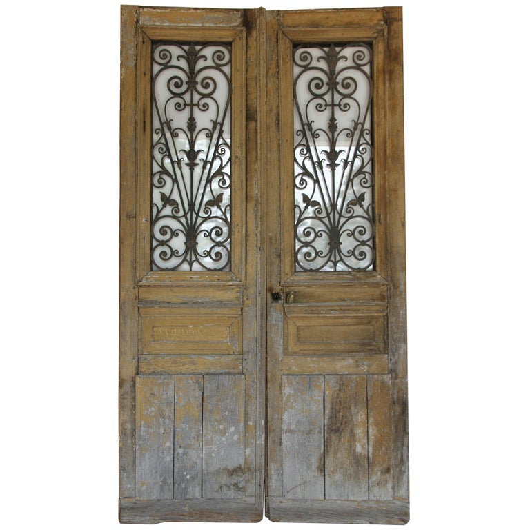 Antique French Doors with Iron and Glass Panels For Sale - Antique French Doors With Iron And Glass Panels At 1stdibs
