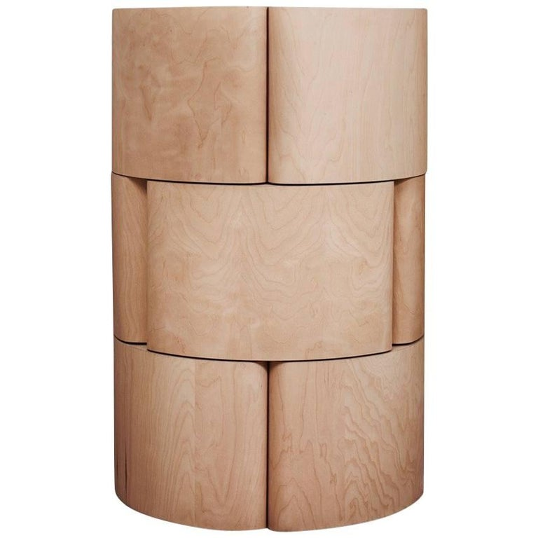 Column Chest and Minibar in Baltic Birch Plywood and Laminated Ash Veneer For Sale
