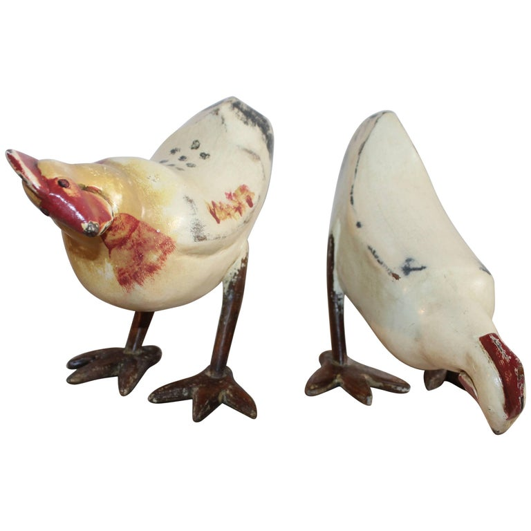 Painted Pecking Chickens, Pair For Sale