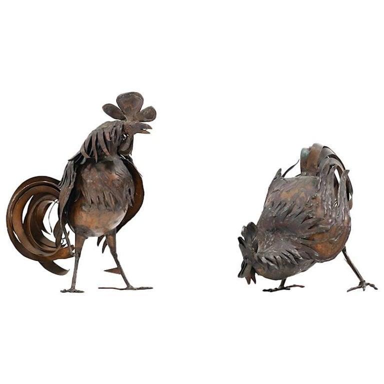 Mid Century Danish Sculptures / Pair of Roosters in Copper