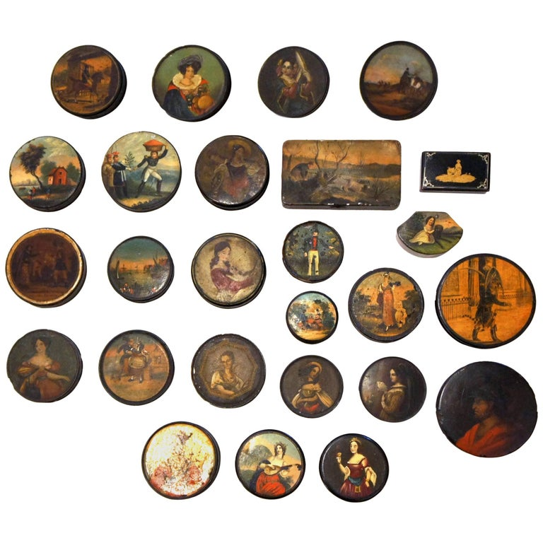 Set of 26 Painted Papier Mâché and Metal Snuff Boxes For Sale