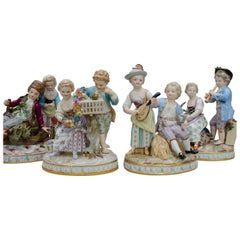 19th Century Meissen Porcelaine, the Four Saisons, Groups of Two Children
