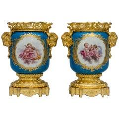 19th Century Light Bleu Ground Ormolu-Mounted Sevres Style Jardinieres Urns