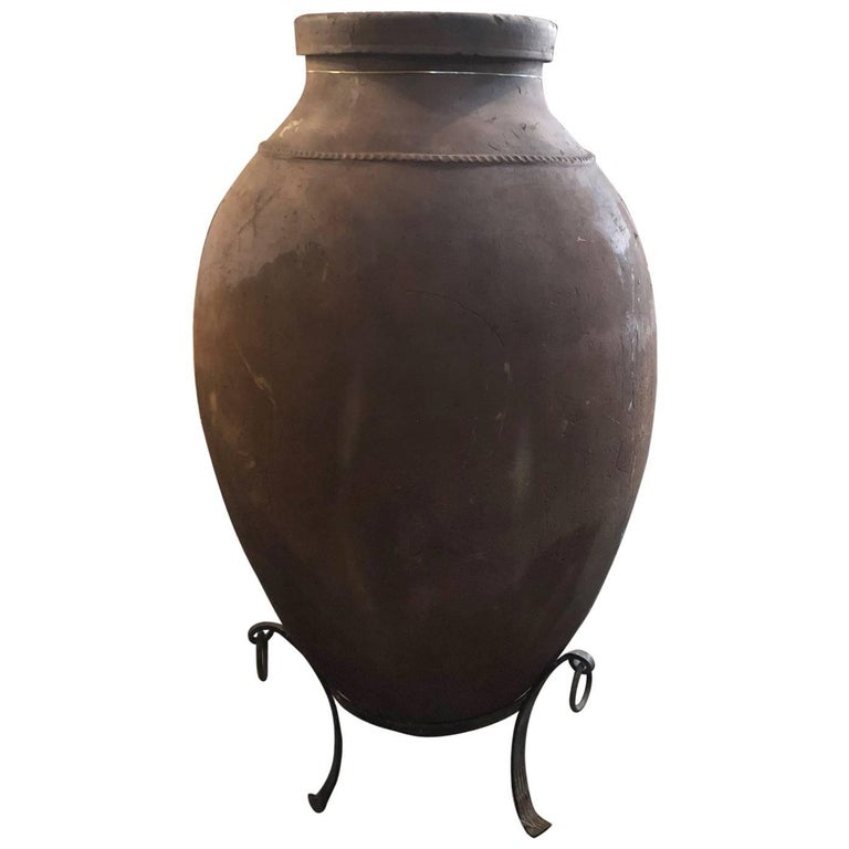 Extra Large Terra Cotta Olive Oil Jar with Stand