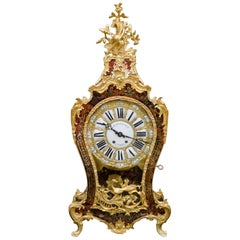 Red Boulle Marquetry Cartel Clock, Balthazar Paris, 19th Century