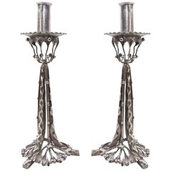 Pair of Arts & Crafts Silvered Wrought Iron Candleholders, circa 1910