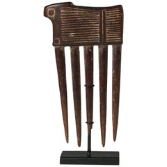 Mid-20th Century Tribal African Wood Comb from the Baule, Cote d'Ivoire