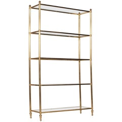 French Brass Etagere with Five Glass Shelves