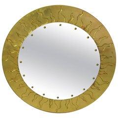 American Modern Circular Églomisé Mirror, David Marshall