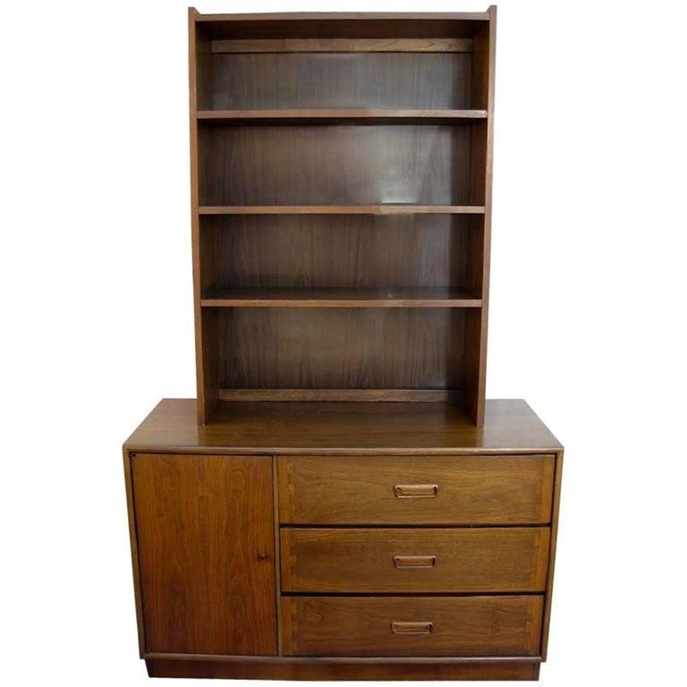 Walnut Lane Altavista Cabinet Hutch with Bookcase